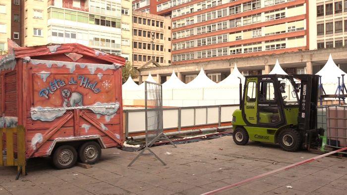 Montaje Pista Hielo Patinaje Plaza España (Noviembre 2019)