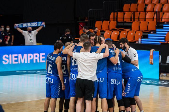 San Pablo Burgos en su victoria contra el Real Madrid de baloncesto 83-87 en la Fase Final de la Liga Endesa ACB 2020