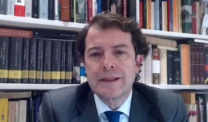 Alfonso Fernández Mañueco en una videoconferencia