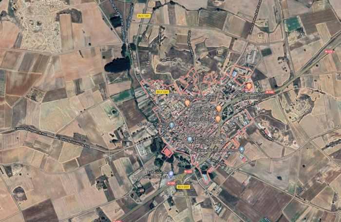 fotografía satélite del municipio burgalés Castrillo de la Vega