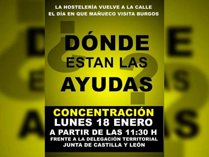 cartel hostelería manifestación junta lunes 18