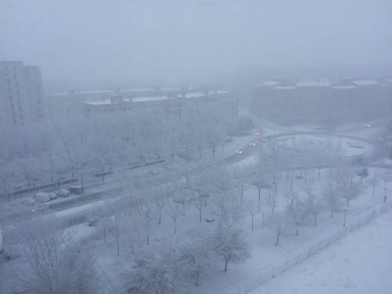 La Avenida de Castilla y León cubierta por la nieve este lunes 8